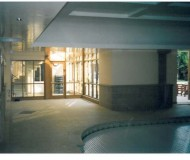 Swimming pool interior showing spiral staircase.